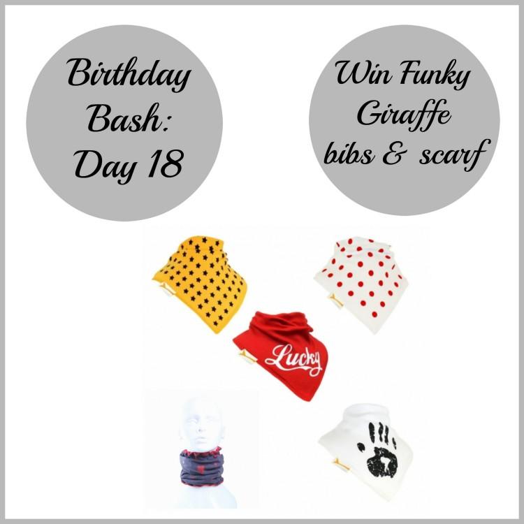 Birthday Bash: Day 18 – Win Funky Giraffe bibs & scarf