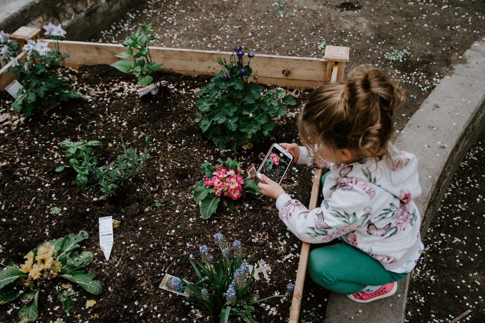 child planting flowers in garden